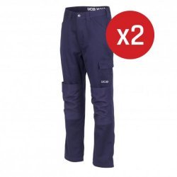 JCB Essential Cargo Trousers Navy 2-Pack