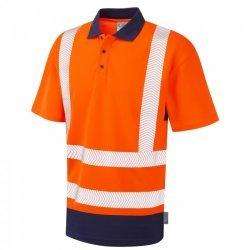 Leo Workwear Mortehoe Coolviz Plus Orange/Navy Polo Shirt
