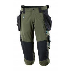 Mascot ADVANCED ¾ Length Trousers with kneepad pockets and holster pockets - Moss Green