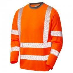 Leo Workwear Capstone Hi Vis Sleeved Orange T-Shirt