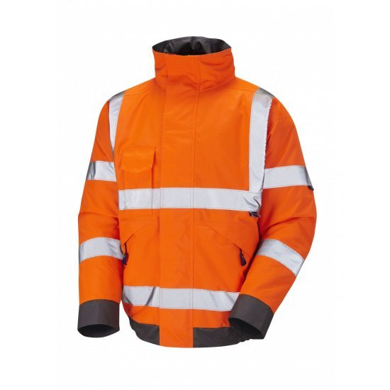 Leo Workwear Chivenor Class 3 GO/RT Orange Hi Vis Waterproof Bomber Jacket