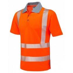 Leo Workwear Woolacombe Class 2 Orange Hi Vis Polo Shirt