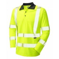 Leo Workwear Woolsery Class 3 Yellow Hi Vis Long Sleeve Polo Shirt