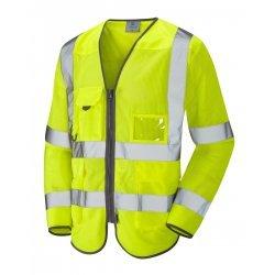 Leo Workwear Burrington Class 3 Yellow CoolViz Hi Vis Sleeved Waistcoat