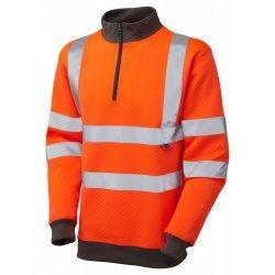 Leo Workwear Brynsworthy Class 3 GO/RT Orange Hi Vis 1/4 Zip Sweatshirt