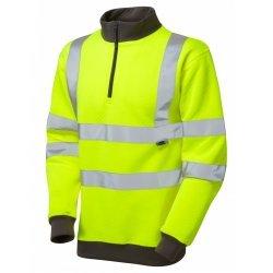 Leo Workwear Brynsworthy Class 3 Yellow Hi Vis 1/4 Zip Sweatshirt