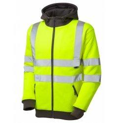 Leo Workwear Saunton Class 3 Yellow Hooded Sweatshirt