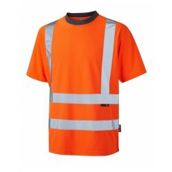 Leo Workwear Braunton Class 2 GO/RT Orange Hi Vis T-Shirt