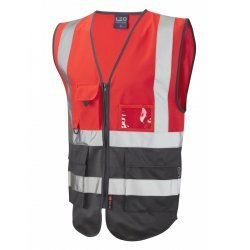 Leo Workwear Lynton Class 1 Hi Vis Red/Grey Superior Waistcoat
