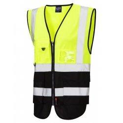 Leo Workwear Lynton Class 1 Hi Vis Yellow/Black Superior Waistcoat