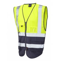 Leo Workwear Lynton Class 1 Hi Vis Yellow Navy Superior Waistcoat