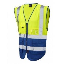 Leo Workwear Lynton Class 1 Hi Vis Yellow/Royal Blue Superior Waistcoat