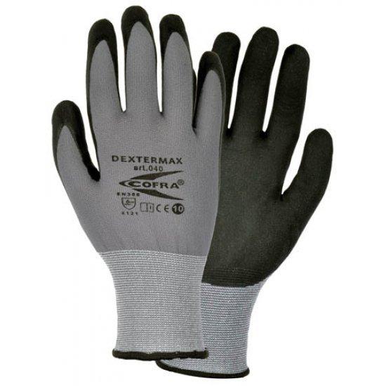 Cofra Dextermax Grey - Black Nitrile Gloves Water Repellent Back