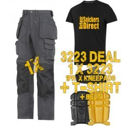 Snickers 3223 Trousers Plus Snickers 9110 Kneepads & SD T-Shirt & PTD Belt