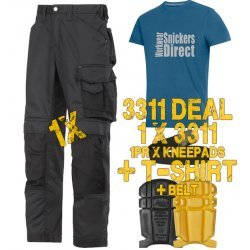 Snickers 3311 Trousers Plus 9110 Kneepads & PTD Belt & SD T-Shirt