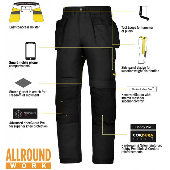 Snickers 6201 Trousers x2 Plus Snickers 9110 Kneepads & SD T-Shirt & PTD Belt