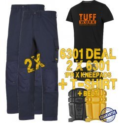 Snickers 6301 Trousers x2 Plus Snickers 9110 Kneepads & SD T-Shirt & PTD Belt
