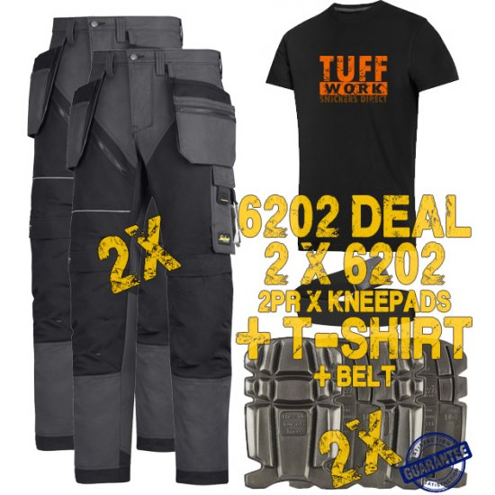 Snickers 6202 Trousers x2 Plus Snickers 9111 Kneepads x2 & SD T-Shirt & PTD Belt