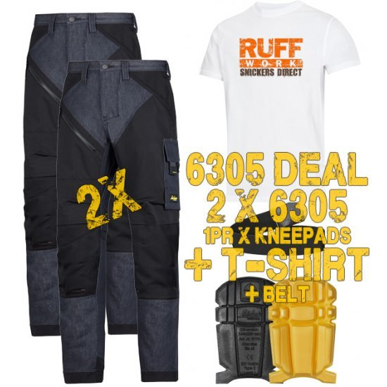 Snickers 6305 Trousers x2 Plus Snickers 9110 Kneepads & SD T-Shirt & PTD Belt
