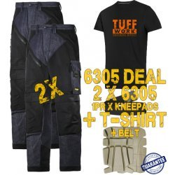 Snickers 6305 Trousers x2 Plus Snickers 9112 Kneepads & SD T-Shirt & PTD Belt