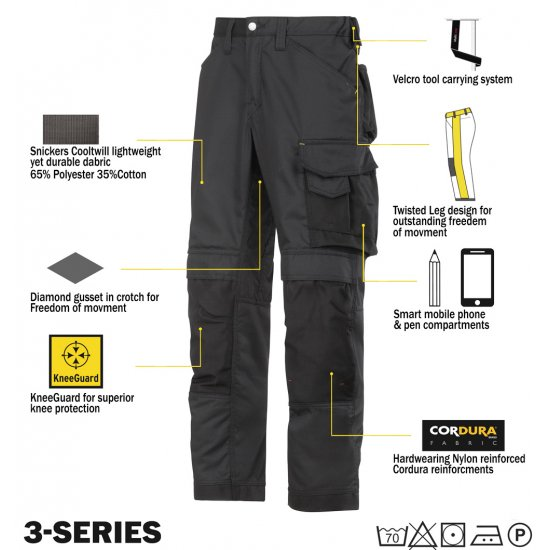 Snickers 3311 Trousers Plus Snickers 9111 Kneepads & PTD Belt