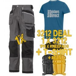 Snickers 3212 Trousers Plus Snickers 9110 Kneepads & SD T-Shirt & PTD Belt