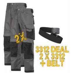2 x Snickers 3312 3-Series Trousers, 3312 x 2 Plus A Belt