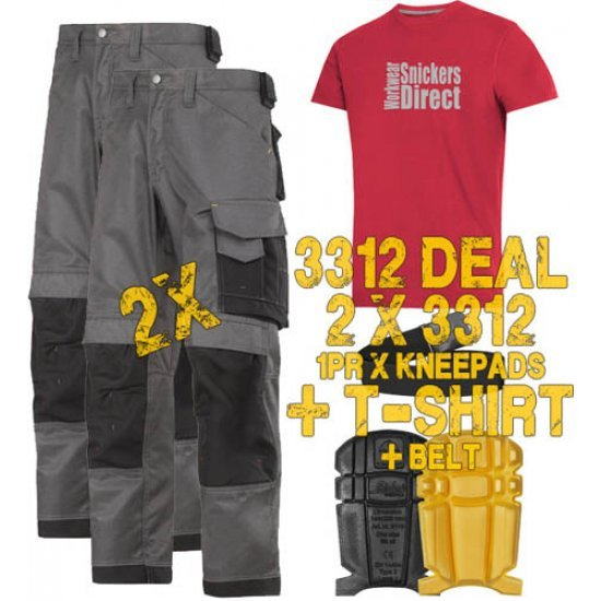Snickers 3312 Trousers x2 Plus Snickers 9110 Kneepads & PTD Belt
